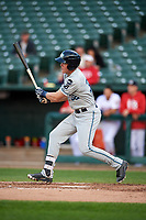 West Michigan Whitecaps third baseman Josh Lester (32) follows through on a swing during a game against the Peoria Chiefs on May 8, 2017 at Dozer Park in Peoria, Illinois.  West Michigan defeated Peoria 7-2.  (Mike Janes/Four Seam Images)