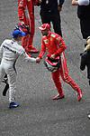 14.04.2018, Shanghai Audi International Circuit, Shanghai, 2018 FORMULA 1 HEINEKEN CHINESE GRAND PRIX, 12.04. - 15.04.2018<br /> im Bild<br />Poleposition f&uuml;r Sebastian Vettel (GER#5), Scuderia Ferrari, Valtteri Bottas (FIN#77), Mercedes AMG Petronas Formula One Team<br /> <br /><br /> <br /> Foto &copy; nordphoto / Bratic