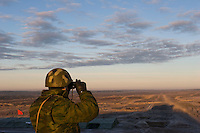 Kamenka, Karelia, Russia, 14/12/2007..A Russian lookout during Snezhinka [Snowflake] 2007, a joint live fire training exercise for Russian and Swedish motorised infantry in which they play the roles of a combined peace-keeping force enforcing a demilitarised zone in a warring region.