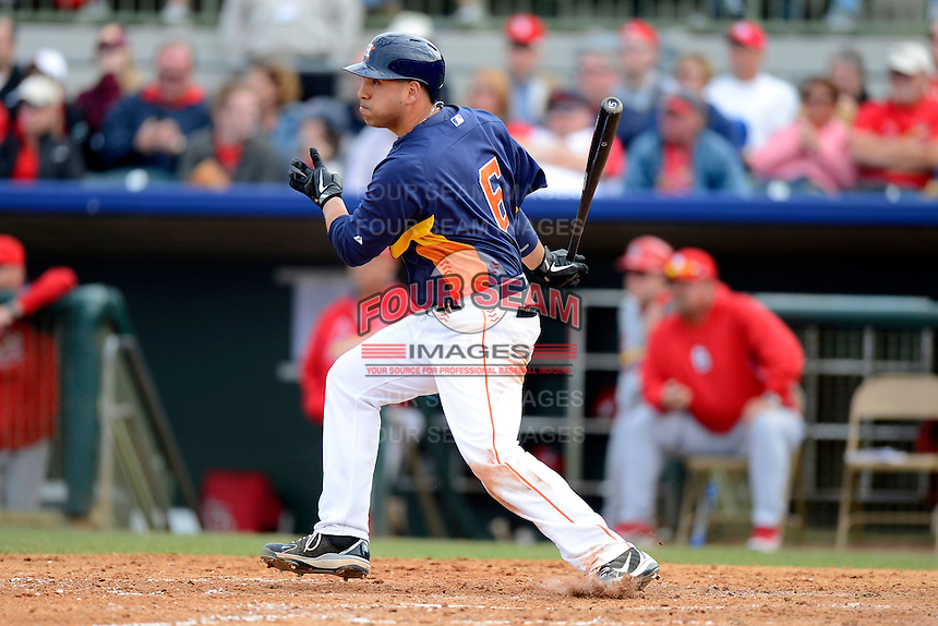Houston Astros catcher Jason Jaramillo #6 during a Spring Training game against the St. Louis Cardinals at Osceola County Stadium on March 1, 2013 in Kissimmee, Florida.  The game ended in a tie at 8-8.  (Mike Janes/Four Seam Images)