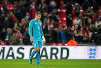 Goalkeeper Tom Heaton (Burnley) of England leaves the field after conceding 2 goals during the International Friendly match between England and Spain at Wembley Stadium, London, England on 15 November 2016. Photo by Andy Rowland.