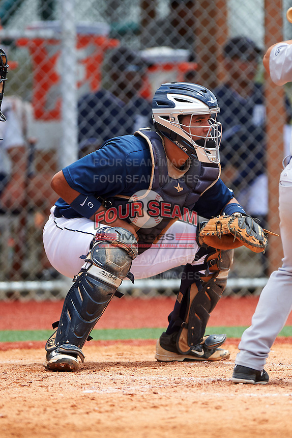 GCL Tigers East catcher Elys Escobar (22) during a game against the GCL Tigers West on August 4, 2016 at Tigertown in Lakeland, Florida.  GCL Tigers West defeated GCL Tigers East 7-3.  (Mike Janes/Four Seam Images)