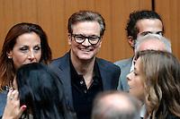 Colin Firth with the cast<br /> Roma 27-10-2016. Universita' la Sapienza. L'attore Colin Firth alla Sapienza per parlare di giovani ed Europa e per sostenere i giovani precari del film 'In bici senza sella'.<br /> Photo Samantha Zucchi Insidefoto.