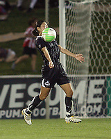 Homare Sawa #10 of the Washington Freedom pulls in a high cross during a WPS match against the Chicago Red Stars at the Maryland Soccerplex, in Boyds Maryland on June 12 2010. The game ended in a 2-2 tie.