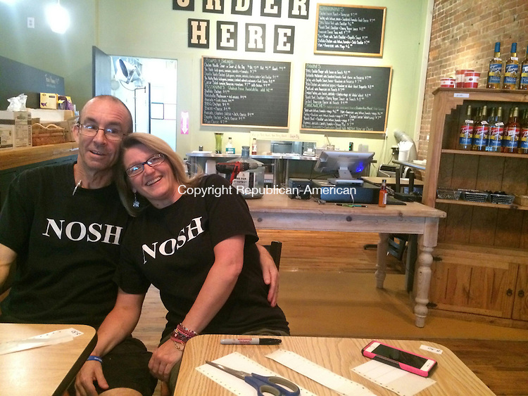 WINSTED, CT - 08 July 2015 070815CH8 -- Owners Bob and Kelly McCarthy closed their restaurant, Nosh, on Wednesday when they were notified their building would be for sale at the end of their lease. The restaurant underwent major renovations in March. Carrie Grace Henderson Republican-American