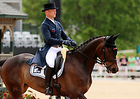 LEXINGTON, KY - April 28, 2017.  #54 Fischerrocana FST and Michael Jung from Germany finish the Dressage test in 2nd place at the Rolex Three Day Event at the Kentucky Horse Park.  Lexington, Kentucky. (Photo by Candice Chavez/Eclipse Sportswire/Getty Images)