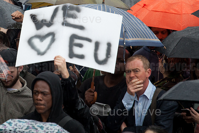Tim Farron (British politician and Leader of the Liberal Democrats).<br /> <br /> London, 28/06/2016. Today, around 5PM, thousands of members of the public gathered in Trafalgar Square under rain showers to protest against the EU Referendum result which is leading the United Kingdom to the so called &quot;Brexit&quot;, in other words to leave the European Union. Around 7:30PM, people started to march spontaneously and peacefully towards Parliament Square. The demonstration ended around 9:30PM in College Green, a little park outside the Houses of Parliament where all the major media set up their portable studios and where politicians, analysts, commentators, experts and others give interviews about the outcome of the recent Referendum, the fallout and to try to forecast the future. While reported on the Channel 4 news that most protestors were 18+ (Which you can find here: https://www.facebook.com/Channel4News/videos/10153853076771939/ ), this was not actually the case. Protestors of all ages were present in significant numbers representing all the generations of the population. Previously, another planned demonstration called &quot;Stand Together: London event&quot; was cancelled &lt;&lt; [&hellip;] on safety grounds after an &quot;unprecedented&quot; response from Londoners. More than 50,000 people were expected to attend a London Stays rally this evening to show that &quot;London stands with Europe&quot;. But organisers today confirmed the protest was cancelled due to safety concerns. City Hall also said the protest had been blocked because the number of people who were planning to attend exceeded Trafalgar Square's safe limit by 40,000. [&hellip;]&gt;&gt; (From the Evening Standard, 28 June 2016, http://www.standard.co.uk/news/london/trafalagar-square-proremain-rally-cancelled-for-safety-reasons-after-more-than-50000-people-sign-up-a3283086.html ).<br /> <br /> For more information about the demo please click here: https://www.facebook.com/events/1042459869178536