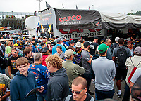 Sep 14, 2019; Mohnton, PA, USA; Fans surround the pit area of NHRA top fuel driver Steve Torrence during qualifying for the Keystone Nationals at Maple Grove Raceway. Mandatory Credit: Mark J. Rebilas-USA TODAY Sports
