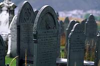 Großbritannien, Wales, Blaenau Ffestiniog, Grabsteine aus Schiefer