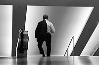 A man walking down the stairs