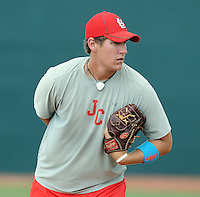 Pitcher Logan Billbrough (28) of the Johnson City Cardinals, Appalachian League affiliate of the St. Louis Cardinals, prior to a game against the Danville Braves on August 19, 2011, at Howard Johnson Field in Johnson City, Tennessee. Danville defeated Johnson City, 5-4, in 16 innings. (Tom Priddy/Four Seam Images)