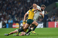 Geoff Parling of England takes on the Australia defence. Rugby World Cup Pool A match between England and Australia on October 3, 2015 at Twickenham Stadium in London, England. Photo by: Patrick Khachfe / Onside Images