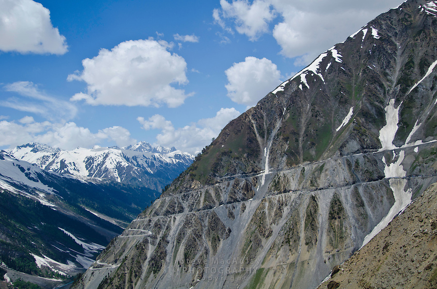 The world famous, precipitous Srinagar to Leh road as it cuts up and eventually over the Himalayan Mountains of Northern India, Kashmir Ladakh, India.