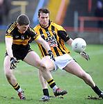 18-02-12: Kieran O'Leary, Dr Crokes, battles  with Paul Kernan, Crossmaglen Rangers,  in the All Ireland Club football championship semi-final in Portlaoise on Saturday.   Picture: Eamonn Keogh (MacMonagle, Killarney)