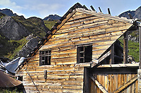Steel cables keep an old building from collapsing at Independence Mine State Historical Park, in the Hatcher Pass area about 50 miles north of Anchorage, Alaska.