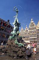 Belgium, Antwerpen, Antwerp, Europe, Brabo Fountain at Grote Markt in downtown Antwerpen.