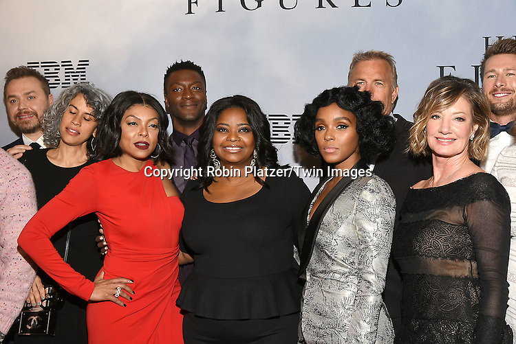 Taraji P Henson,  Aldis Hodge,  Octavia Spencer, Janelle Monae &amp; Kevin Costner attend &quot;Hidden Figures&quot; Special Screening on December 10, 2016 at SVA Theatre in New York, New York, USA.<br /> <br /> photo by Robin Platzer/Twin Images<br />  <br /> phone number 212-935-0770