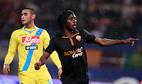 Calcio, semifinale di andata di Coppa Italia: Roma vs Napoli. Roma, stadio Olimpico, 5 febbraio 2014.<br /> AS Roma forward Gervinho, of Ivory Coast, celebrates after scoring the winning goal during the Italian Cup first leg semifinal football match between AS Roma and Napoli at Rome's Olympic stadium, 5 February 2014. AS Roma won 3-2.<br /> UPDATE IMAGES PRESS/Isabella Bonotto