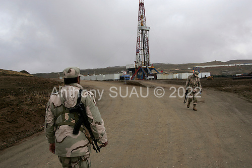 near Tawke, Kurdistan.January 26, 2006..Security around the new oil platform run by Norwegian company DNO and the Kurdish government. It is the first new oil operation in Iraq since the war in 2003 and the first foreign company in Iraq/Kurdistan in 20 years..