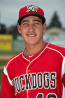 Batavia Muckdogs pitcher Yeims Mendoza (46) poses for a photo during media day on June 10, 2014 at Dwyer Stadium in Batavia, New York.  (Mike Janes/Four Seam Images)