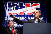 United States President Barack Obama receives applause from Democratic National Committee chairman Tim Kaine (L) as he delivers remarks at the Democratic National Committee (DNC) winter meeting on Saturday, February 6, 2010 in Washington, DC. Top party officials and supporters gathered for the annual meeting to map out their agenda for the year.  .Credit: Brendan Hoffman - Pool via CNP