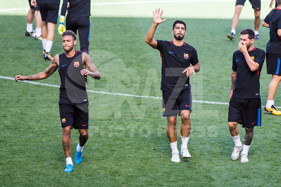 HARRISON, EUA, 21.07.2017 - BARCELONA-JUVENTUS -  (E/D) Neymar Jr., Luis Suarez e Lionel Messi jogadores do Barcelona durante treino um dia antes da partida contra a Juventus pela International Champions Cup na Red Bull Arena na cidade de Harrison nos Estados Unidos nesta sexta-feira, 21. (Foto: William Volcov/Brazil Photo Press)