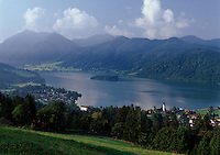 Germany, Bavaria, Upper Bavaria, Schliersee: small town and popular climatic health resort with St. Sixtus Church at Lake Schliersee, Schliersee mountains