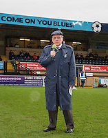 Wycombe EX Players Association Chairman Alan Hutchinson says a few words in respect of the late Paul McCarthy ahead of the Sky Bet League 2 match between Wycombe Wanderers and Crawley Town at Adams Park, High Wycombe, England on 25 February 2017. Photo by Andy Rowland / PRiME Media Images.