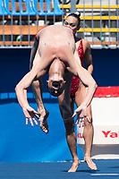 USA United States MAY Bill SPENDLOVE Kanako Kitao bronze medal<br /> Synchronised swimming , Synchro<br /> mixed duet tecnhical final<br /> 17/07/2017 <br /> XVII FINA World Championships Aquatics<br /> City Park - Varosliget Lake<br /> Photo @ Giorgio Perottino/Deepbluemedia/Insidefoto