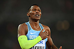 Isaac Makwala (BOT) celebrates after qualifing for the qualifying for the mens 200m finals following being initially banned from running. IAAF world athletics championships. London Olympic stadium. Queen Elizabeth Olympic park. Stratford. London. UK. 09/08/2017. ~ MANDATORY CREDIT Garry Bowden/SIPPA - NO UNAUTHORISED USE - +44 7837 394578