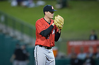 Kannapolis Intimidators relief pitcher Kade McClure (35) looks to his catcher for the sign against the Greensboro Grasshoppers in Game One of the South Atlantic League Northern Division playoff series at First National Bank Field on September 7, 2017 in Greensboro, North Carolina.  The Intimidators defeated the Grasshoppers 4-0.  (Brian Westerholt/Four Seam Images)