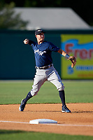Lakeland Flying Tigers third baseman A.J. Simcox (12) throws to first base during a Florida State League game against the Dunedin Blue Jays on April 18, 2019 at Jack Russell Memorial Stadium in Clearwater, Florida.  Dunedin defeated Lakeland 6-2.  (Mike Janes/Four Seam Images)