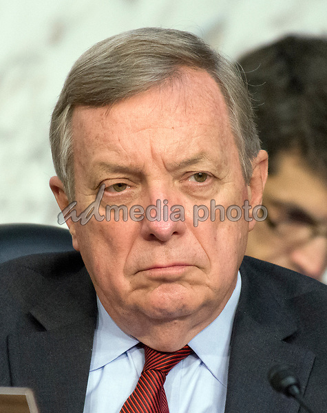 United States Senate Minority Whip Dick Durbin (Democrat of Illinois) listens as Judge Neil Gorsuch testifies before the United States Senate Judiciary Committee on his nomination as Associate Justice of the US Supreme Court to replace the late Justice Antonin Scalia on Capitol Hill in Washington, DC on Tuesday, March 21, 2017. Photo Credit: Ron Sachs/CNP/AdMedia