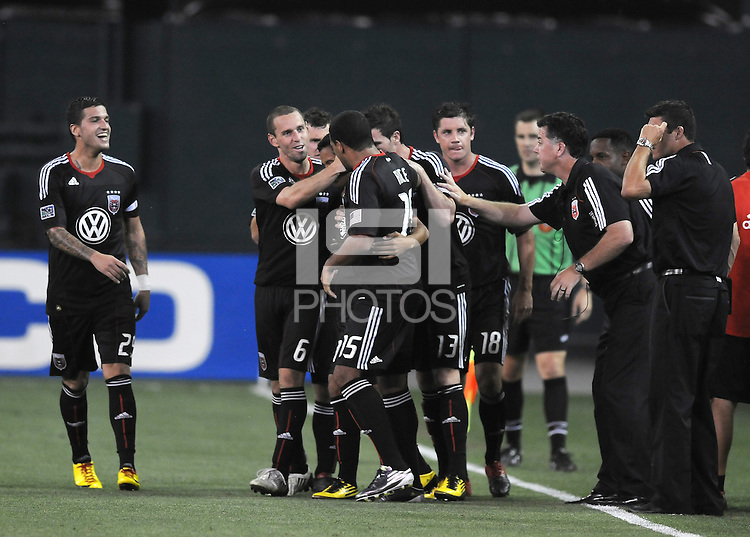 DC United midfielder Andy Najar (14) celebrates with team mates his score in the 107th minute of the game.   DC United defeated Real Salt Lake 2-1 to advance to the round of 16 of the  U.S. Open Cup at RFK Stadium, Wednesday  June 2  2010.