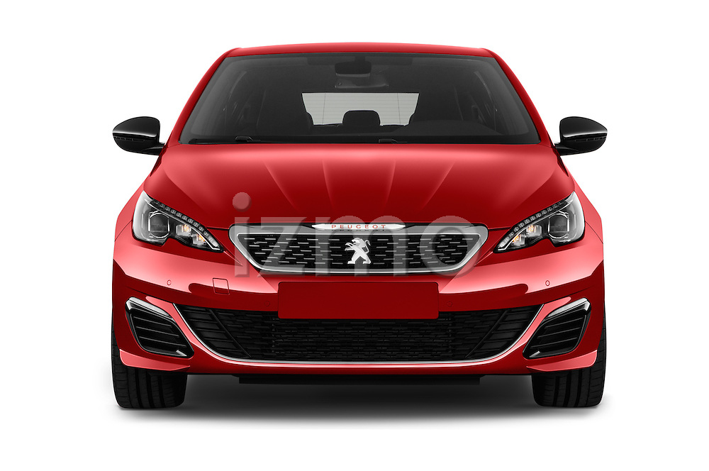 Car photography straight front view of a 2016 Peugeot 308 GTI 5 Door Hatchback Front View