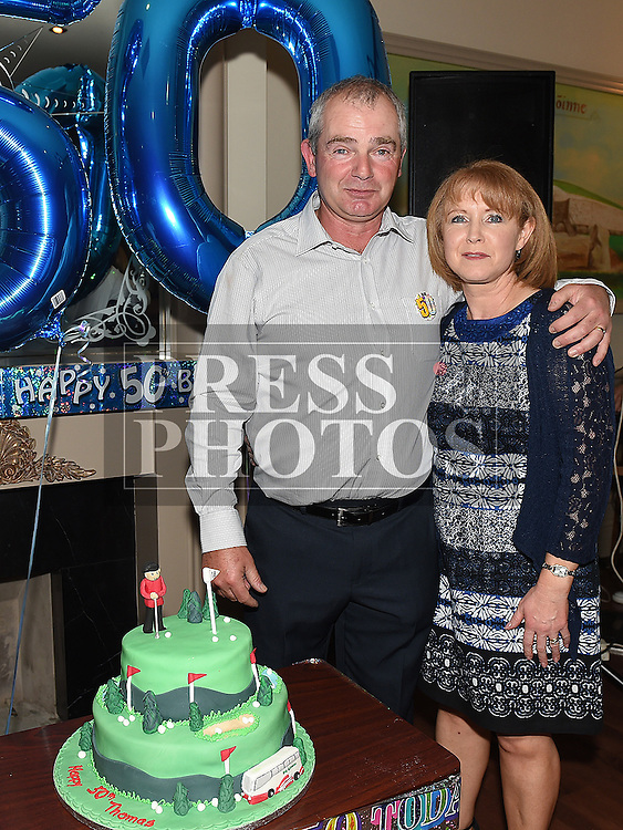 Thomas Butterly celebrating his 50th birthday in the Thatch with his wife Pamela. Photo:Colin Bell/pressphotos.ie
