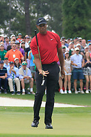 Tiger Woods (USA) on the 18th green during the final round at the The Masters , Augusta National, Augusta, Georgia, USA. 14/04/2019.<br /> Picture Fran Caffrey / Golffile.ie<br /> <br /> All photo usage must carry mandatory copyright credit (© Golffile | Fran Caffrey)
