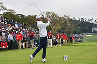 Nick Taylor (CAN) watches his tee shot on 17 during round 4 of the 2019 US Open, Pebble Beach Golf Links, Monterrey, California, USA. 6/16/2019.<br /> Picture: Golffile | Ken Murray<br /> <br /> All photo usage must carry mandatory copyright credit (© Golffile | Ken Murray)