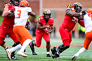 College Park, MD - OCT 27, 2018: Maryland Terrapins running back Tayon Fleet-Davis (8) runs the football during game between Maryland and Illinois at Capital One Field at Maryland Stadium in College Park, MD. The Terrapins defeated Illinois to move to 5-3 on the season. (Photo by Phil Peters/Media Images International)