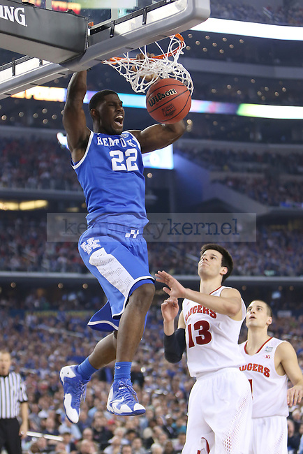 Kentucky Wildcats forward Alex Poythress (22) dunks the ball during the NCAA Final Four vs. Wisconsin at the AT&T in Arlington, Tx., on Saturday, April 5, 2014. Photo by Emily Wuetcher | Staff