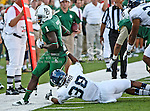 Baylor Bears wide receiver Kendall Wright (1) and Rice Owls cornerback Chris Jammer (38) in action during the game between the Rice Owls and the Baylor Bears at the Floyd Casey Stadium in Waco, Texas. Baylor defeats Rice 56 to 31.
