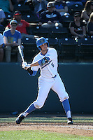 Sean Bouchard (5) of the UCLA Bruins bats against the North Carolina Tar Heels at Jackie Robinson Stadium on February 20, 2016 in Los Angeles, California. UCLA defeated North Carolina, 6-5. (Larry Goren/Four Seam Images)