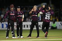 Max Waller of Somerset celebrates with his team mates after taking the wicket of Simon Harmer during Essex Eagles vs Somerset, Vitality Blast T20 Cricket at The Cloudfm County Ground on 7th August 2019