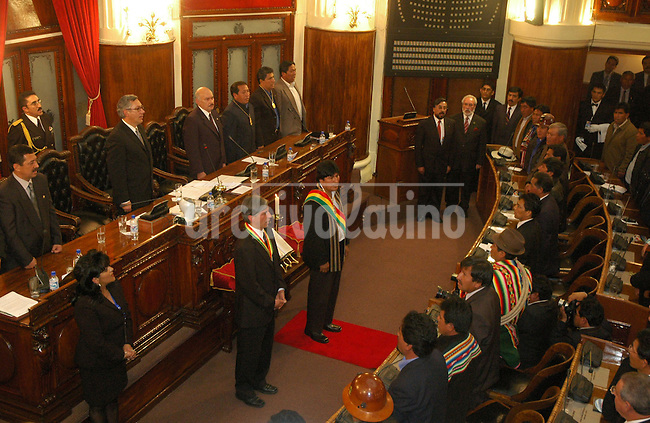 Bolivian President Evo Morales, right, and Vicepresident Alvaro Garcia Linera during the swearing ceremony at the Congress in La Paz, Sunday, January 22, 2006..Photo Bolivia´s Presidency via Bloomberg News