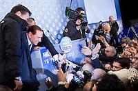 Milano: incontro elettorale con Silvio Berlusconi organizzato dal Popolo delle Libertà..Milan: political rally with Silvio Berlusconi organized by the People of Freedom party