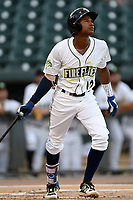 Shortstop Hansel Moreno (12) of the Columbia Fireflies hits a home run in the first inning during a game against the Charleston RiverDogs on Wednesday, August 29, 2018, at Spirit Communications Park in Columbia, South Carolina. Charleston won, 6-1. (Tom Priddy/Four Seam Images)