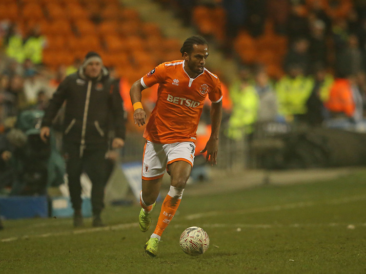 Blackpool's Nathan Delfouneso<br /> <br /> Photographer Stephen White/CameraSport<br /> <br /> Emirates FA Cup Third Round - Blackpool v Arsenal - Saturday 5th January 2019 - Bloomfield Road - Blackpool<br />  <br /> World Copyright &copy; 2019 CameraSport. All rights reserved. 43 Linden Ave. Countesthorpe. Leicester. England. LE8 5PG - Tel: +44 (0) 116 277 4147 - admin@camerasport.com - www.camerasport.com