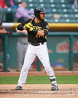 Tony Sanchez (27) of the Salt Lake Bees at bat against the Fresno Grizzlies in Pacific Coast League action at Smith's Ballpark on April 17, 2017 in Salt Lake City, Utah. The Bees defeated the Grizzlies 6-2. (Stephen Smith/Four Seam Images)
