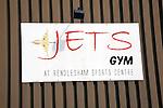 Sign Jets gym Rendlesham Sports Centre, former USAF Bentwaters, Suffolk,