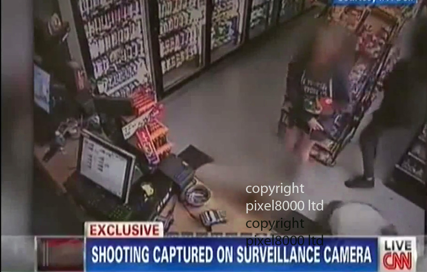 Pic shows: CNN obtained CCTV from I V Deli where shots   fired killed Chris Martinez.<br /> <br /> Shots were apparently fired by  Elliot Rodger  - man allegedly involved in drive-by killings in Santa Barbara.<br /> <br /> <br /> A gunman went on a drive-by shooting rampage in a Santa Barbara student enclave and at least seven people were killed, including the attacker, authorities said.<br /> Investigators believe a 22-year-old named Elliot Rodger driving a black BMW acted alone in the shootings around 9:30pm Friday night in Isla Vista near the University of California, Santa Barbara.<br /> Santa Barbara County Sheriff Bill Brown confirmed at a news conference early Saturday that that seven people were killed, including the gunman, and seven wounded.<br /> Rodger was the son of Peter Rodger, assistant director of the Hollywood film franchise The Hunger Games. An attorney for Peter Rodger has confirmed to KCAL that Elliot Rodger was 'involved' in the shooting.<br /> <br /> <br /> <br /> <br /> <br /> <br /> <br /> Picture by Pixel8000 07917221968